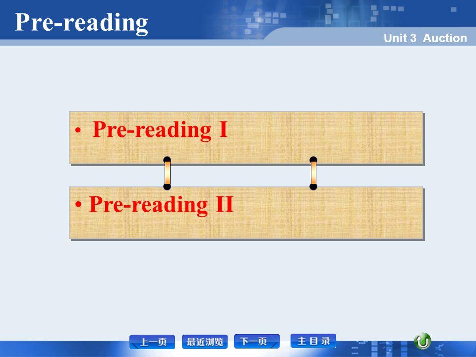 Pre-reading Unit 3 Auction Pre-reading I Pre-reading I Pre-reading I Pre-reading II