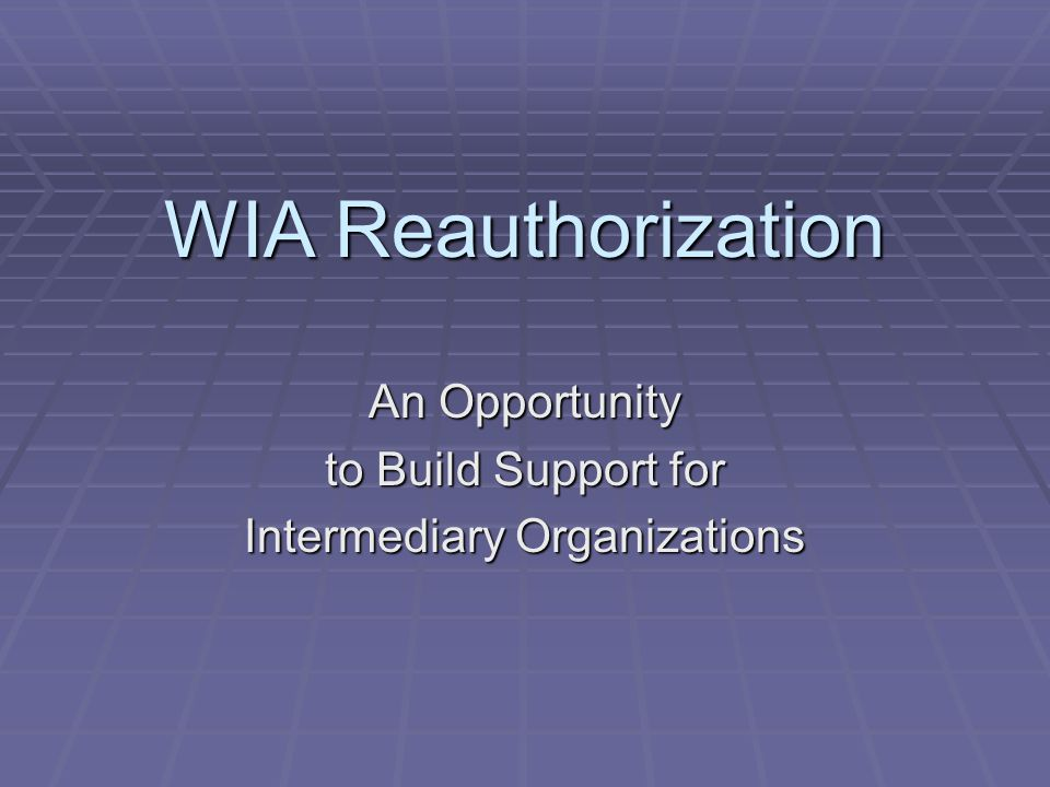 WIA Reauthorization An Opportunity to Build Support for Intermediary Organizations