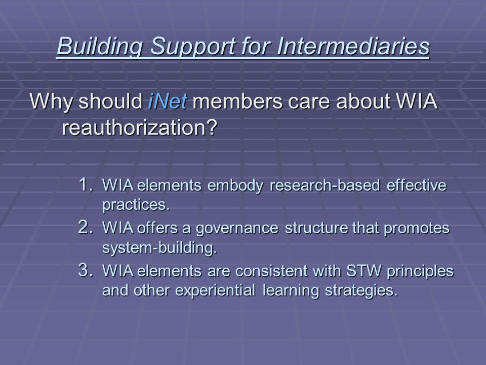 Building Support for Intermediaries Why should iNet members care about WIA reauthorization.