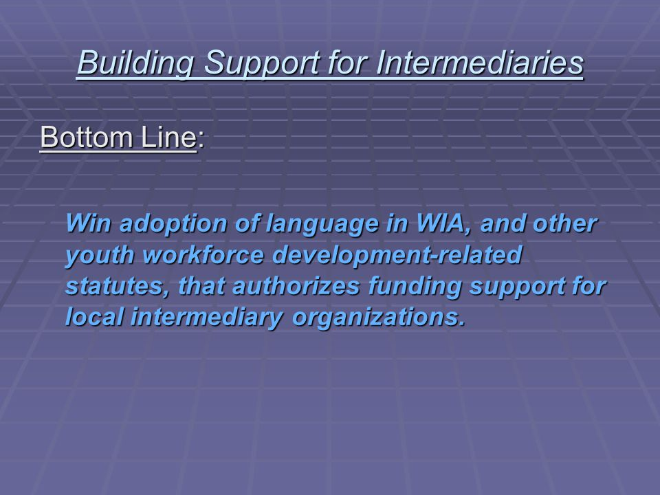 Building Support for Intermediaries What's the Rationale.