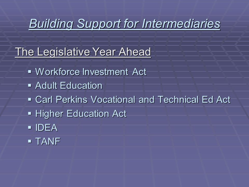 Building Support for Intermediaries The Legislative Year Ahead Possible Outcomes:  Legislative gridlock and short-term extensions  Straightforward reauthorizations will little change  Interconnections between and among related statutes that promote youth workforce development systems