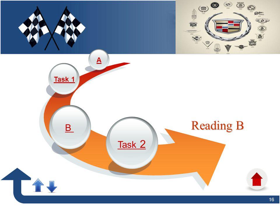 16 Reading B Task 2 B Task 1 A