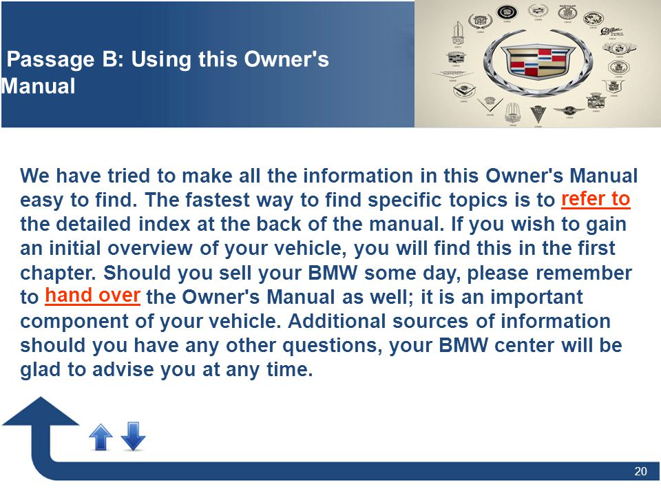 20 Passage B: Using this Owner's Manual We have tried to make all the information in this Owner's Manual easy to find. The fastest way to find specifi
