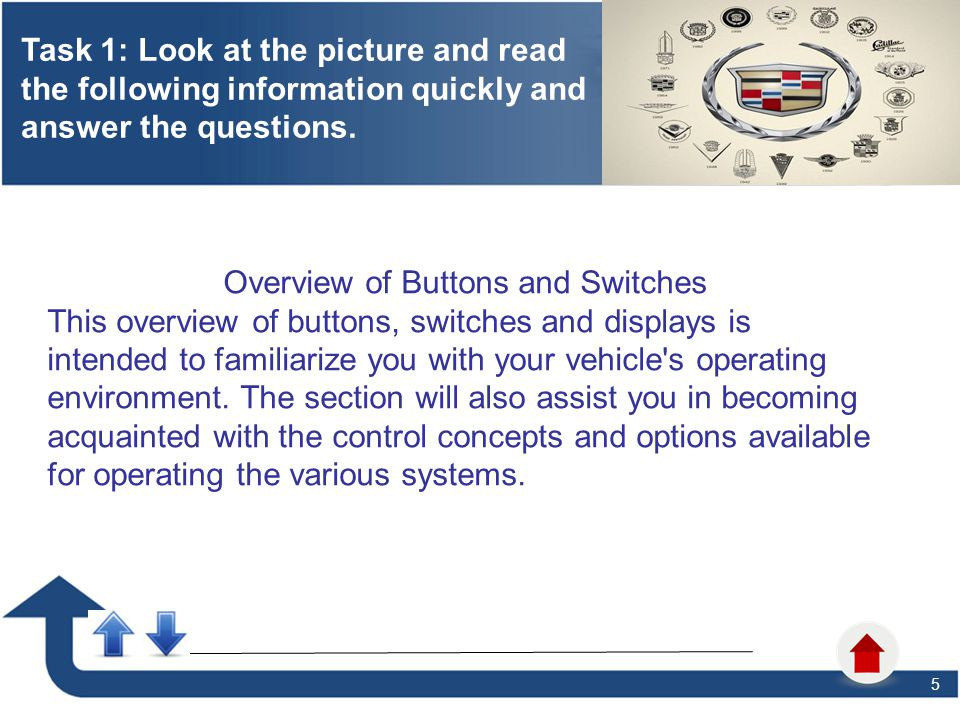 5 Task 1: Look at the picture and read the following information quickly and answer the questions. 6 Overview of Buttons and Switches This overview of