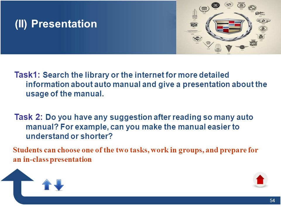 54 (II) Presentation Task1: Search the library or the internet for more detailed information about auto manual and give a presentation about the usage