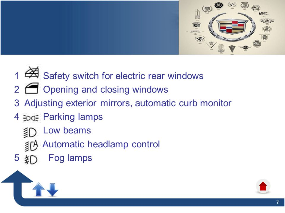 7 1 Safety switch for electric rear windows 2 Opening and closing windows 3 Adjusting exterior mirrors, automatic curb monitor 4 Parking lamps Low bea