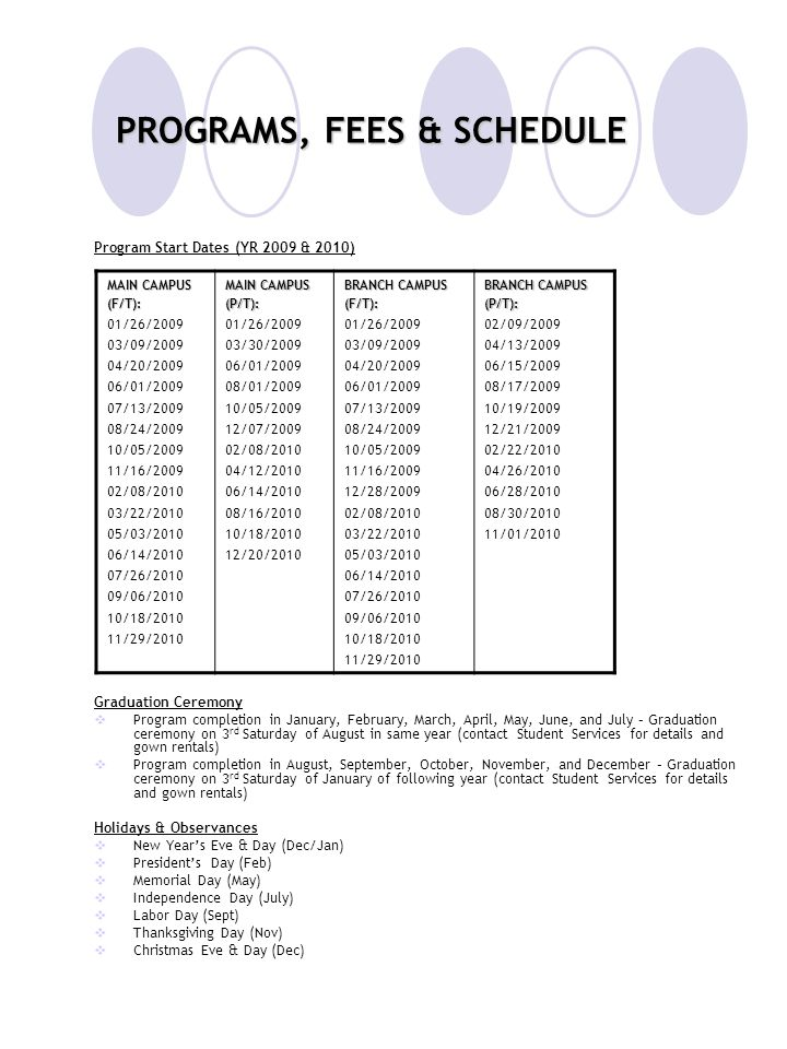 PROGRAMS, FEES & SCHEDULE Program Start Dates (YR 2009 & 2010) Graduation Ceremony  Program completion in January, February, March, April, May, June,