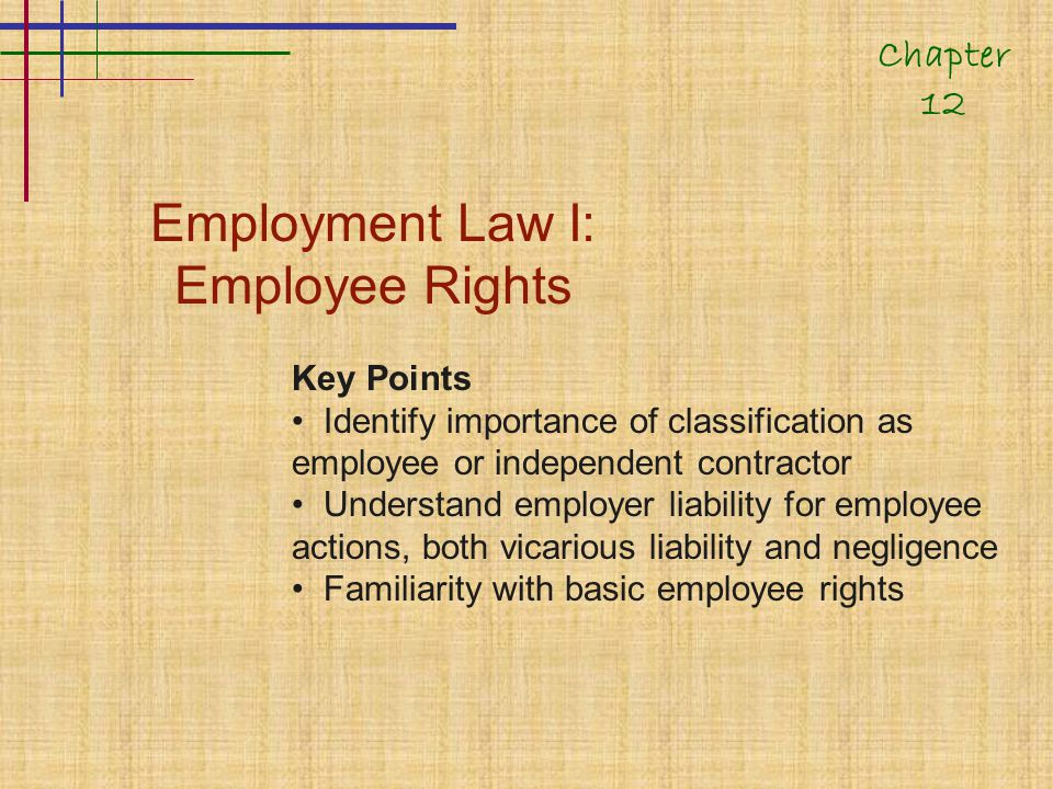 Employment Law I: Employee Rights Key Points Identify importance of classification as employee or independent contractor Understand employer liability for employee actions, both vicarious liability and negligence Familiarity with basic employee rights Chapter 12