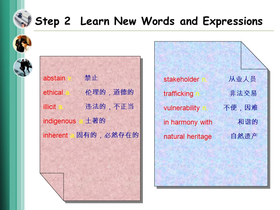 Step 2 Learn New Words and Expressions abstain v. 禁止 ethical a.