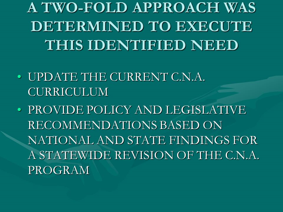 A TWO-FOLD APPROACH WAS DETERMINED TO EXECUTE THIS IDENTIFIED NEED UPDATE THE CURRENT C.N.A.
