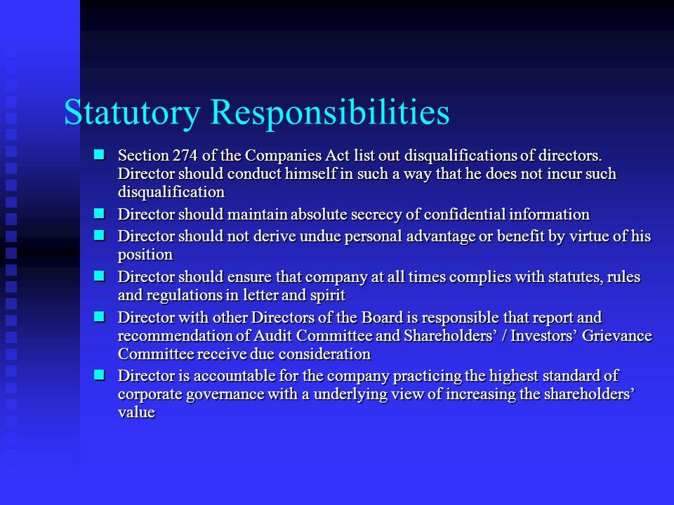 Directors' Responsibilities Present directors Present directors Past directors Past directors Members of Audit Committee Members of Audit Committee Ex