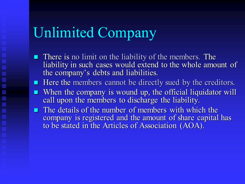 Limited Company Limited by Shares- In such companies, the liability is only the amount which remains unpaid on the shares. Limited by Shares- In such