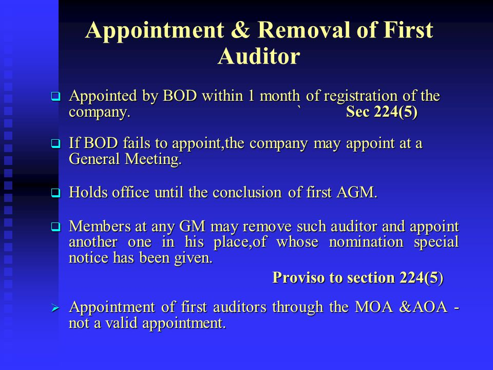 AUDITOR First Auditor Subsequent Auditor Special Auditor Branch Auditor Cost Auditor appointed by Central Govt. Auditor of Government Companies