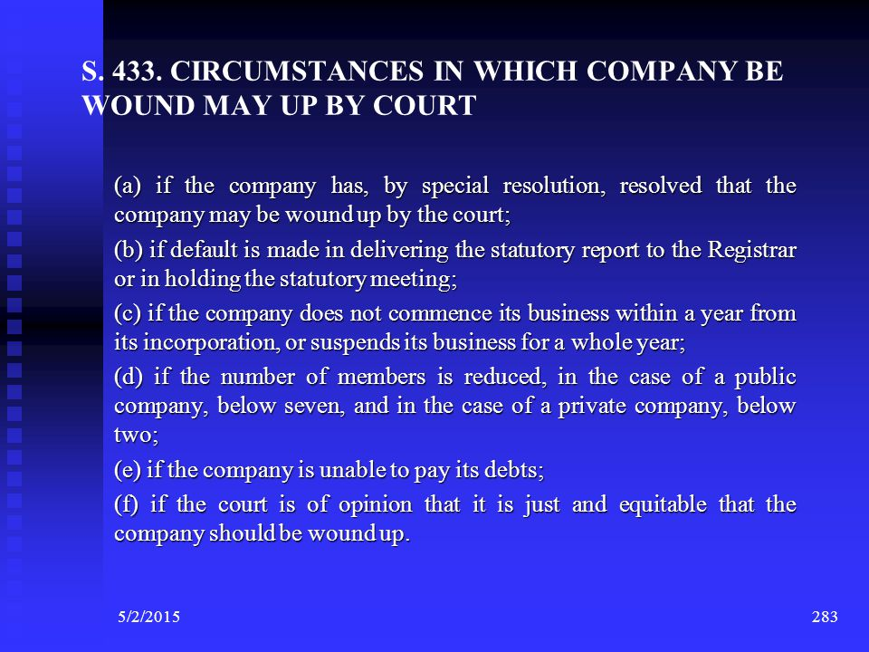 5/2/2015 282 CORPORATE INSOLVENCY WITH REFERNECE TO THE PROVISIONS OF COMPANIES ACT, 1956 The Act does not provide any precise definition for the word