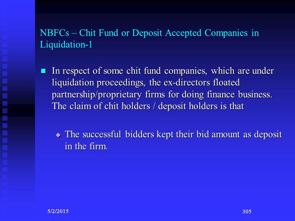 Non Banking Financial Companies (NBFCs)-2 Chit Fund Companies; Chit Fund Companies; Collective Investment Scheme (CISs) Companies (Eg. Plantation comp