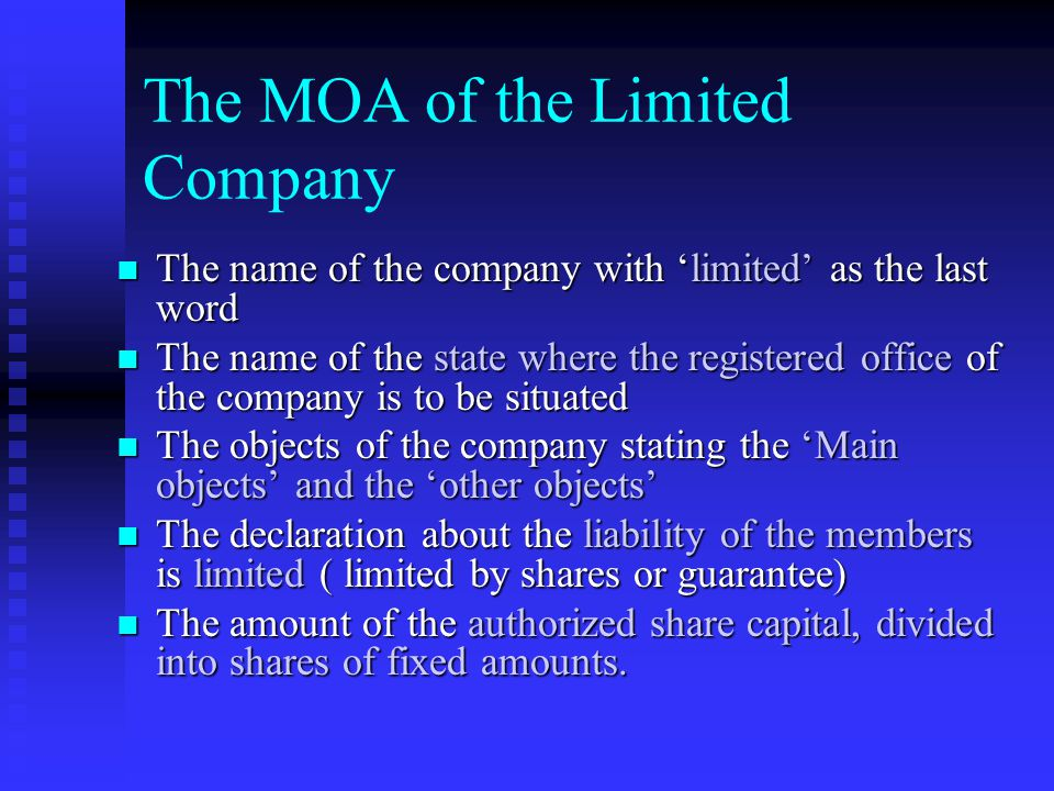 Conditions of the MOA It should be printed It should be printed Divided into paragraph and numbers consecutively Divided into paragraph and numbers co