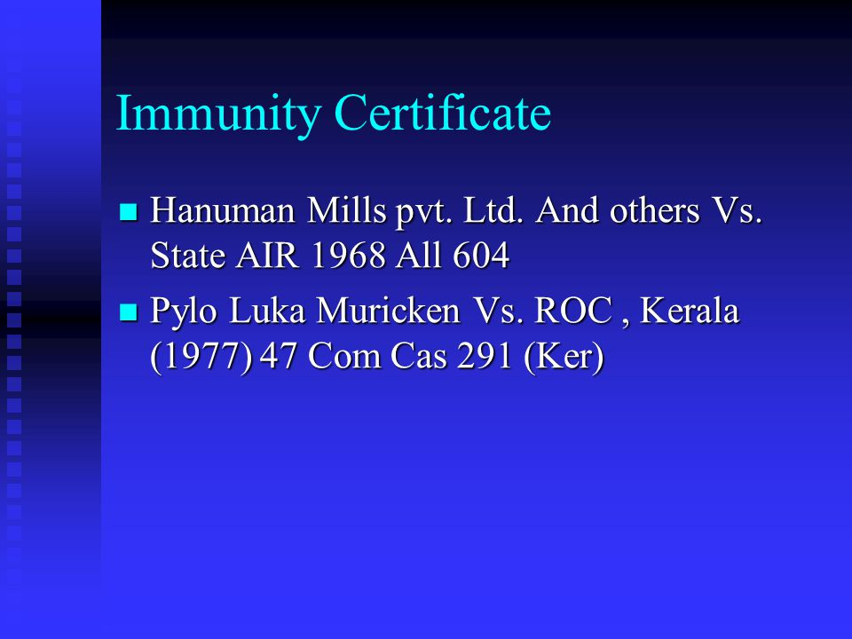 Immunity Certificate Necessity Necessity By filing documents belatedly only an end to offence is made; does not mean that the offence has not taken pl