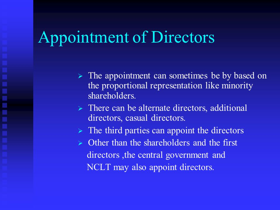 Disqualifications As per the company law, the following persons are disqualified from been appointed as a director: Unsound mind Unsound mind An undis