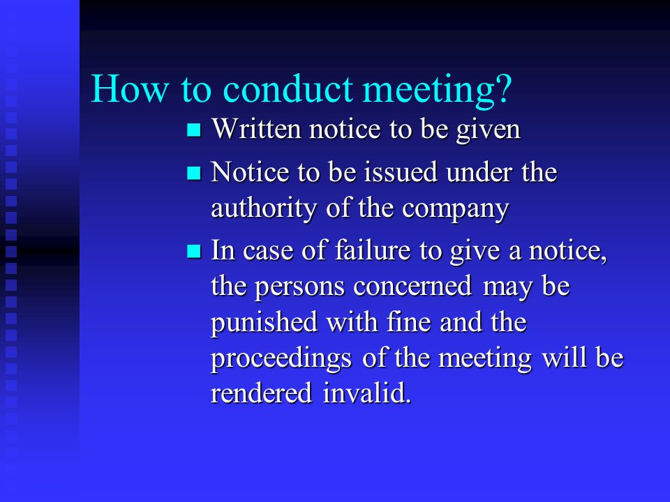 Other meetings AGM-it can be conducted based on the provisions given in the Articles or by passing a resolution in one AGM for the subsequent AGM's AG