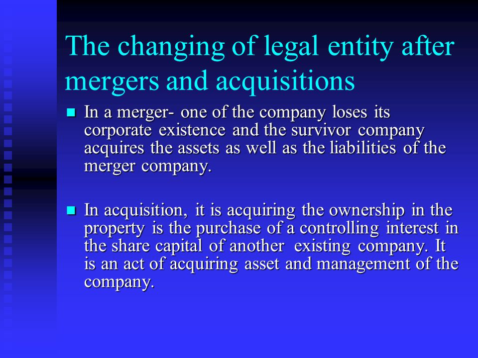 Mergers, Acquisitions and Take over of companies Merger connotes union of two or more commercial interests, corporations, undertakings, bodies or any