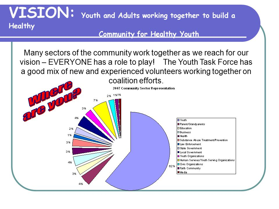 VISION: Youth and Adults working together to build a Healthy Community for Healthy Youth Many sectors of the community work together as we reach for o