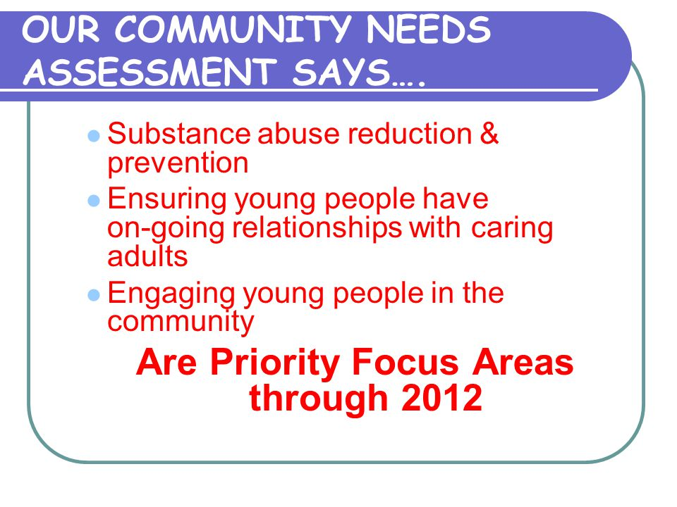 OUR COMMUNITY NEEDS ASSESSMENT SAYS….