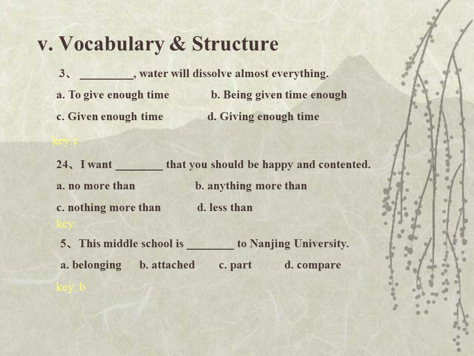 V. Vocabulary & Structure 1 、 Mrs.