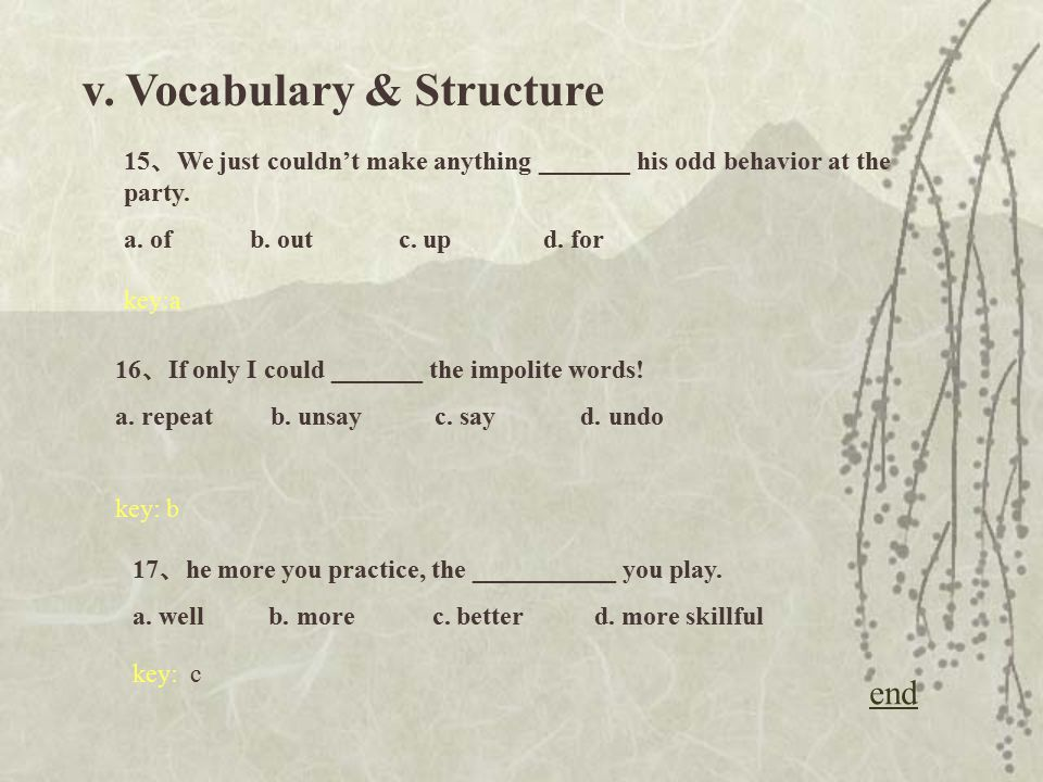 v. Vocabulary & Structure 12 、 At the moment we can do nothing ______ further instructions.