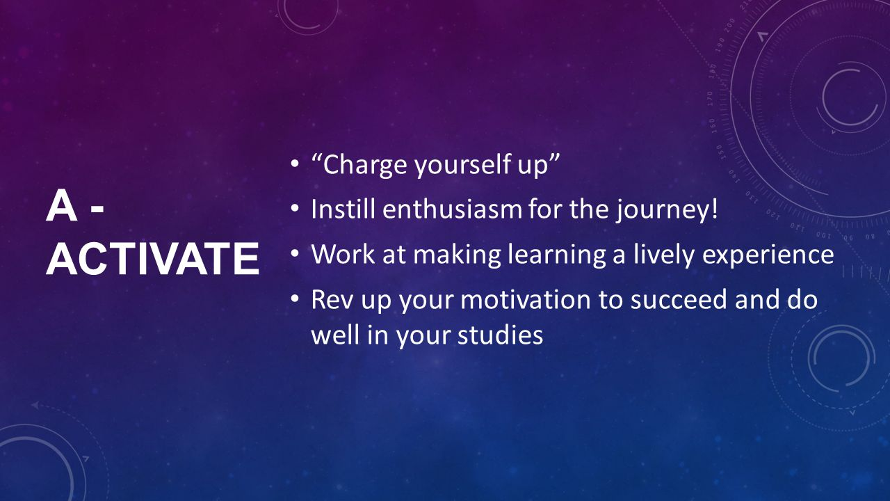 A - ACTIVATE Charge yourself up Instill enthusiasm for the journey.