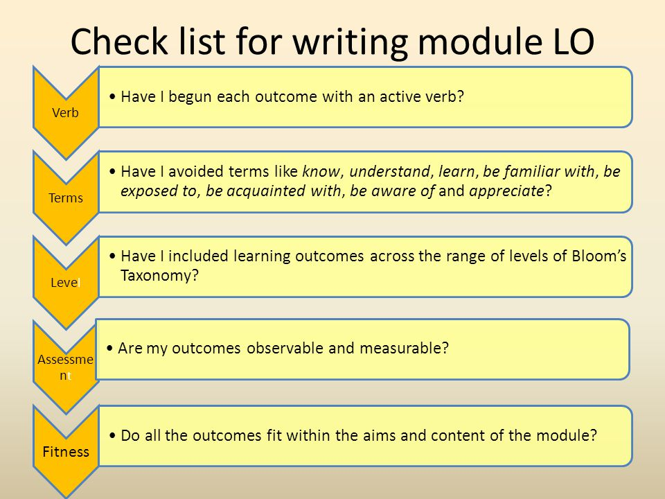 Check list for writing module LO Verb Have I begun each outcome with an active verb.