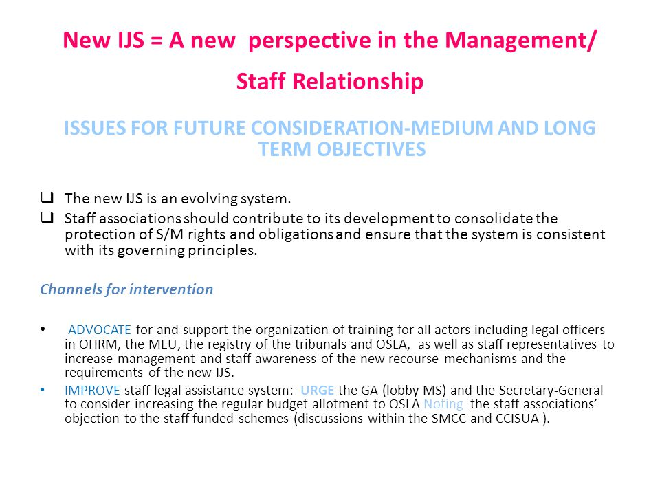 New IJS = A new perspective in the Management/ Staff Relationship ISSUES FOR FUTURE CONSIDERATION-MEDIUM AND LONG TERM OBJECTIVES  The new IJS is an evolving system.