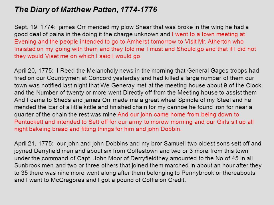 The Diary of Matthew Patten, 1774-1776 Sept.
