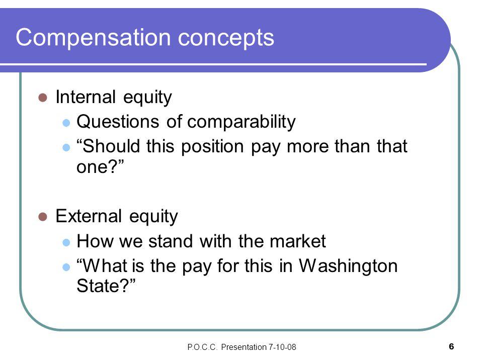 P.O.C.C.Presentation 7-10-087 External Equity How do we compare to market.