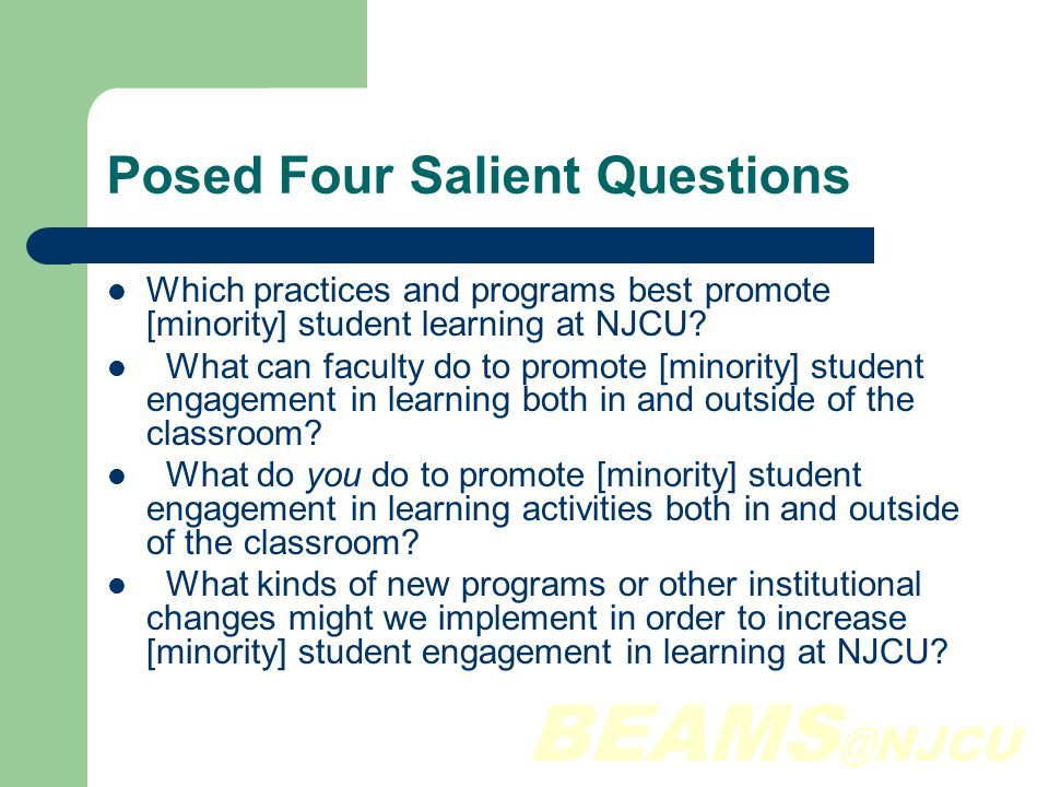 BEAMS @NJCU Emerging Questions Minority focus seems lost in NSSE data disconnected from BEAMS initative.