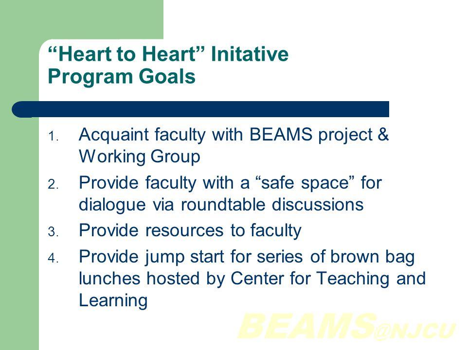 BEAMS @NJCU Heart to Heart Initative Program Goals 1.