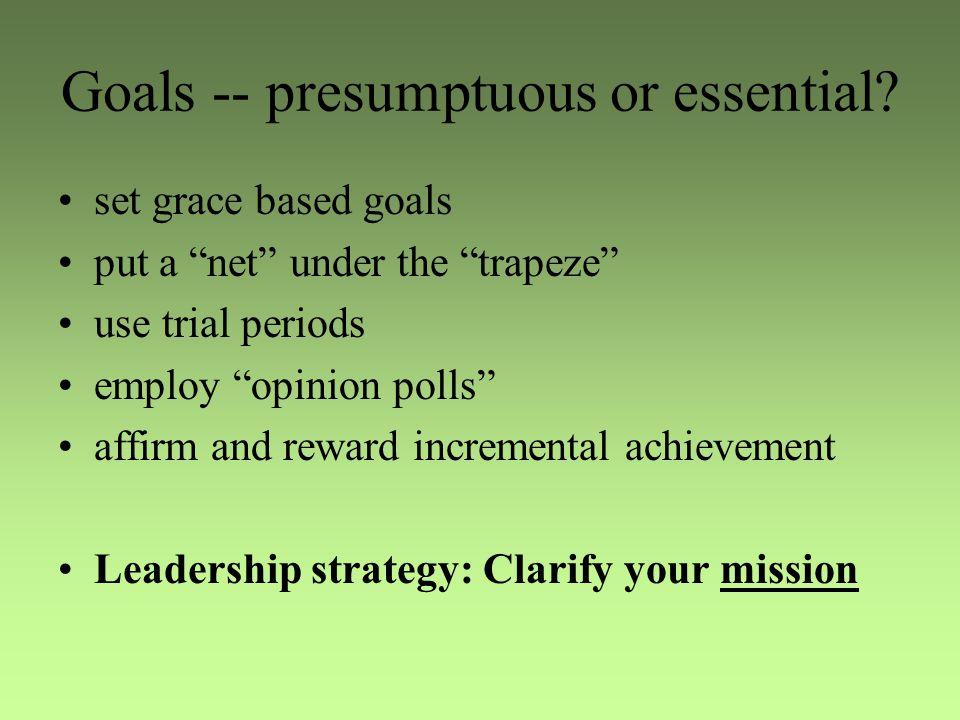 Goals -- presumptuous or essential.