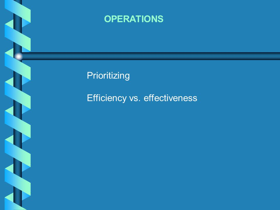 OPERATIONS Prioritizing Efficiency vs. effectiveness