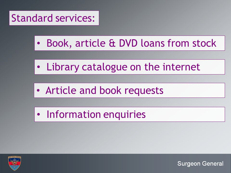 Enter JFC or JFC pillar Standard services: Book, article & DVD loans from stock Library catalogue on the internet Article and book requests Informatio