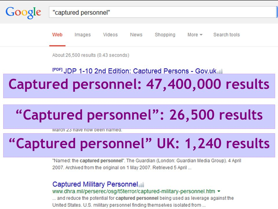 Captured personnel: 47,400,000 results Captured personnel : 26,500 results Captured personnel UK: 1,240 results