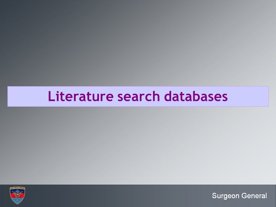 Literature search databases