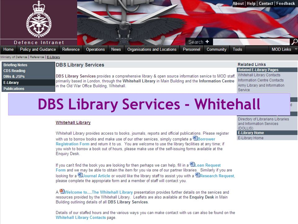DBS Library Services - Whitehall
