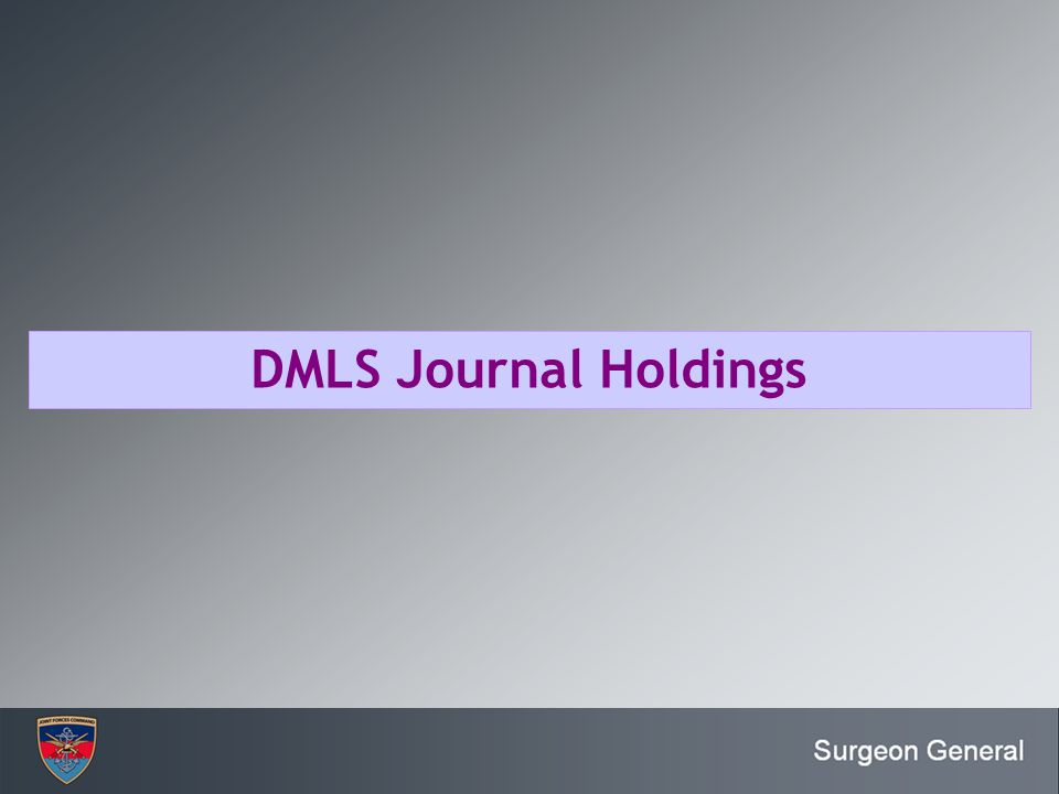 DMLS Journal Holdings