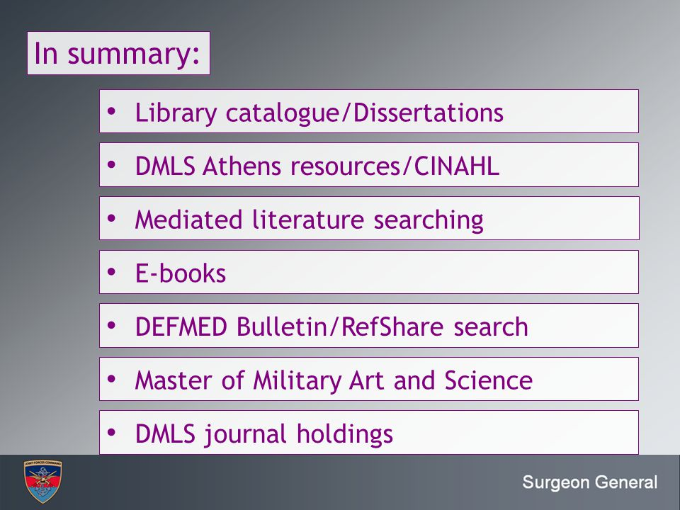 In summary: Library catalogue/Dissertations DMLS Athens resources/CINAHL Mediated literature searching E-books DEFMED Bulletin/RefShare search Master