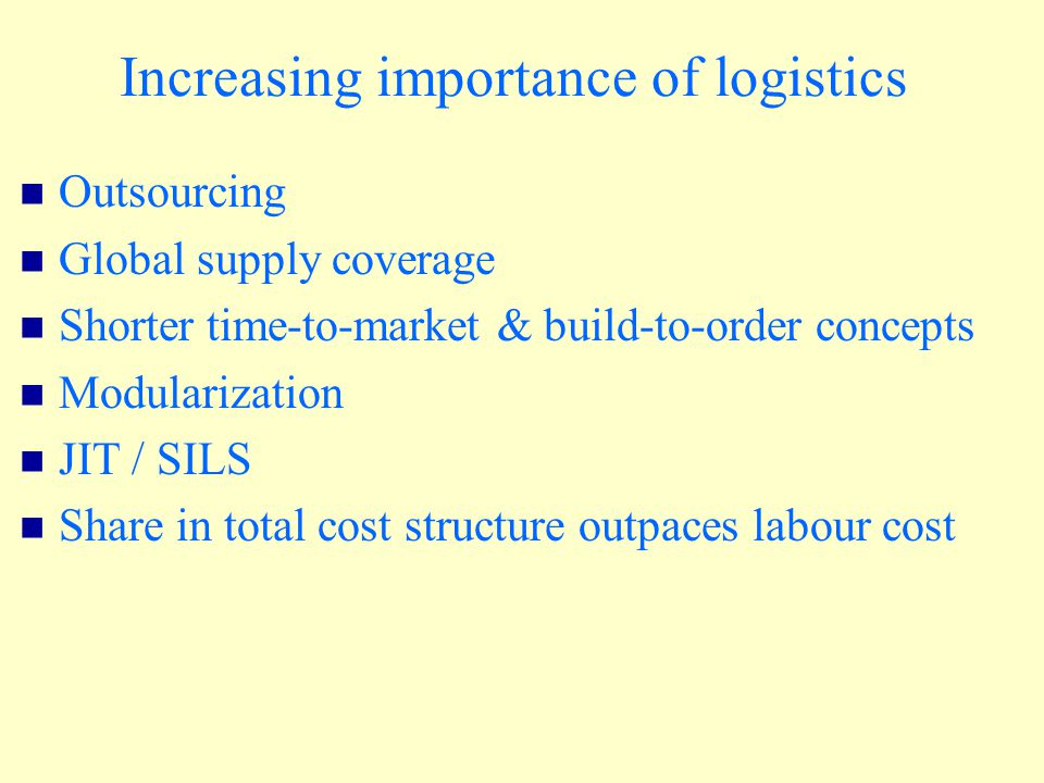 Increasing importance of logistics Outsourcing Global supply coverage Shorter time-to-market & build-to-order concepts Modularization JIT / SILS Share in total cost structure outpaces labour cost