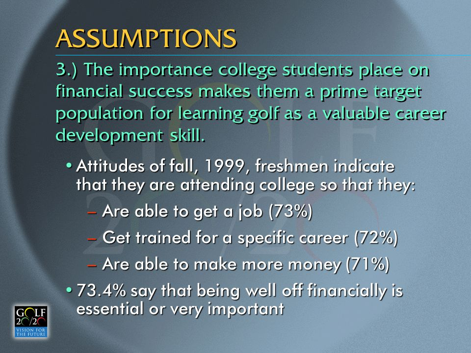 ASSUMPTIONS Attitudes of fall, 1999, freshmen indicate that they are attending college so that they:Attitudes of fall, 1999, freshmen indicate that they are attending college so that they: –Are able to get a job (73%) –Get trained for a specific career (72%) –Are able to make more money (71%) 73.4% say that being well off financially is essential or very important73.4% say that being well off financially is essential or very important 3.) The importance college students place on financial success makes them a prime target population for learning golf as a valuable career development skill.