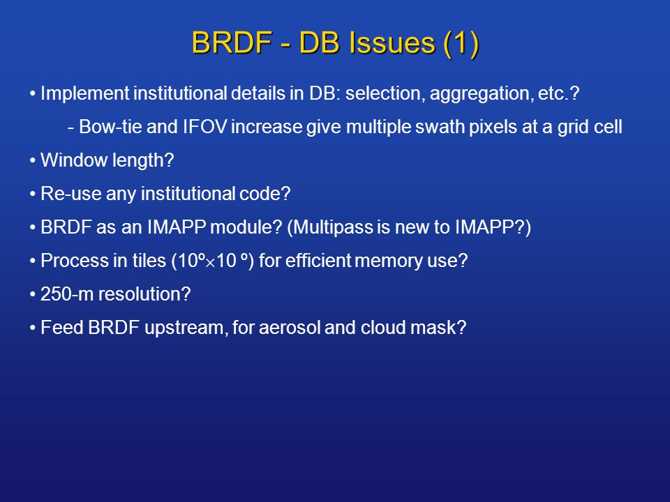 BRDF - DB Issues (1) Implement institutional details in DB: selection, aggregation, etc..