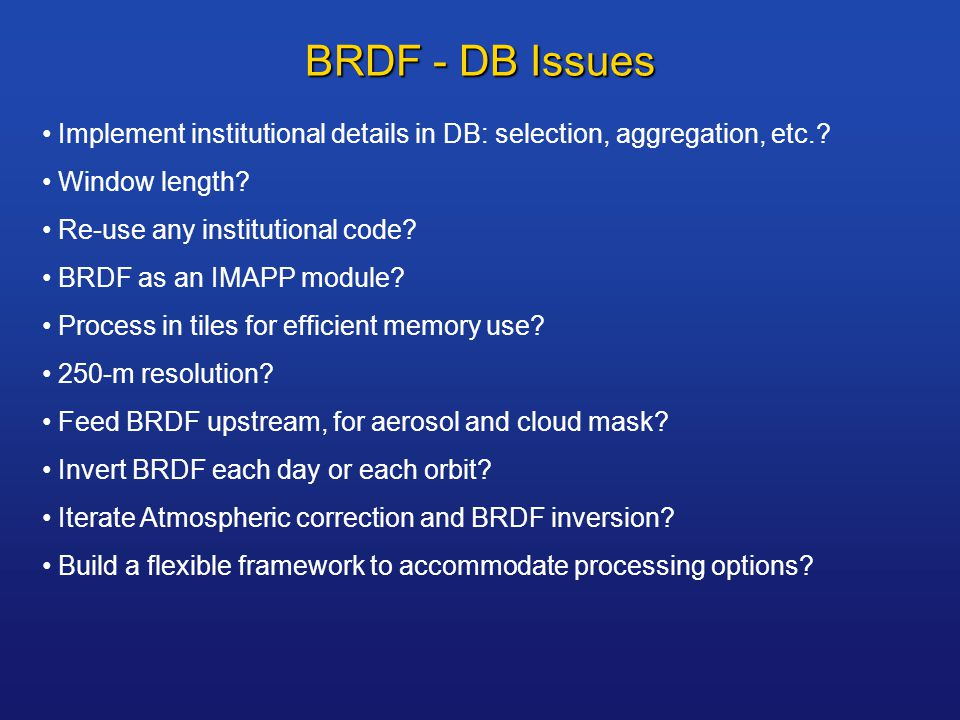 BRDF - DB Issues Implement institutional details in DB: selection, aggregation, etc..