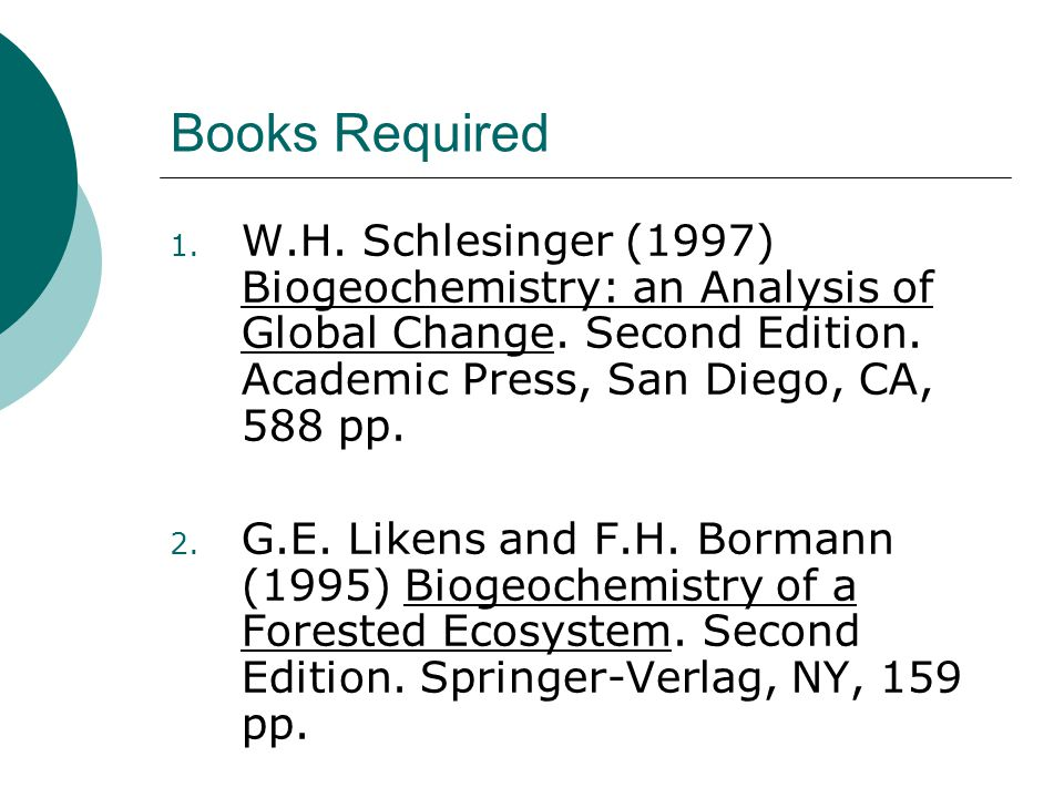 Books Required 1. W.H. Schlesinger (1997) Biogeochemistry: an Analysis of Global Change.