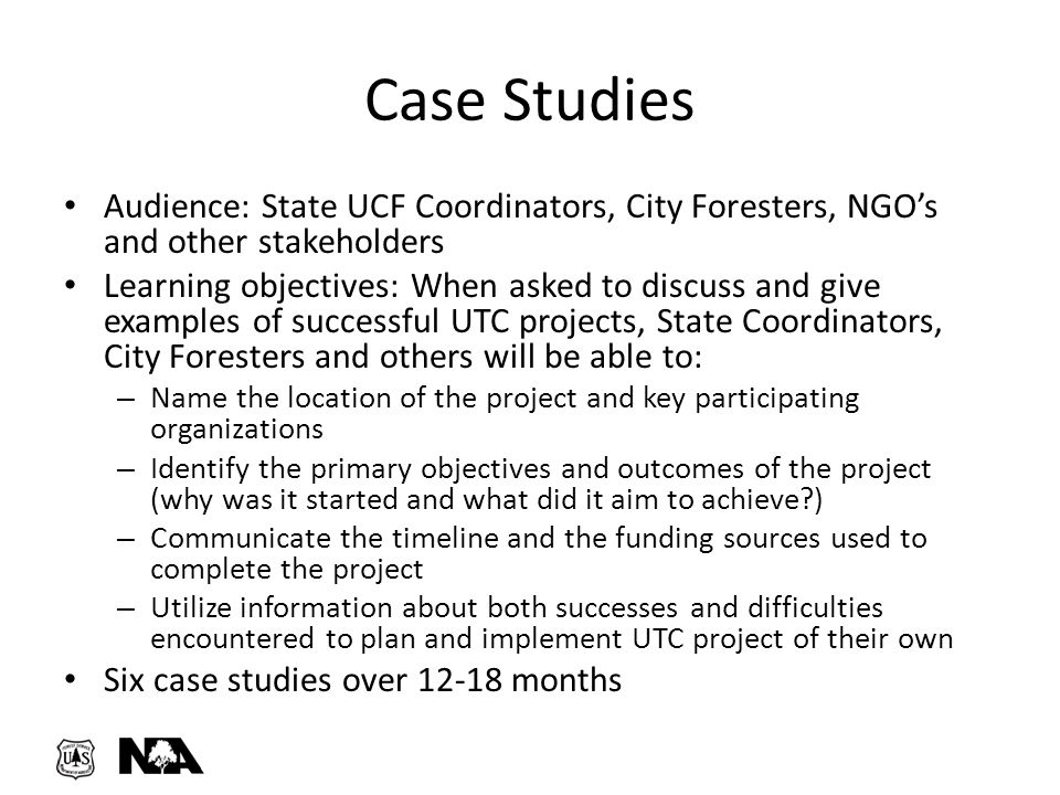 Audience: State UCF Coordinators, City Foresters, NGO's and other stakeholders Learning objectives: When asked to discuss and give examples of success