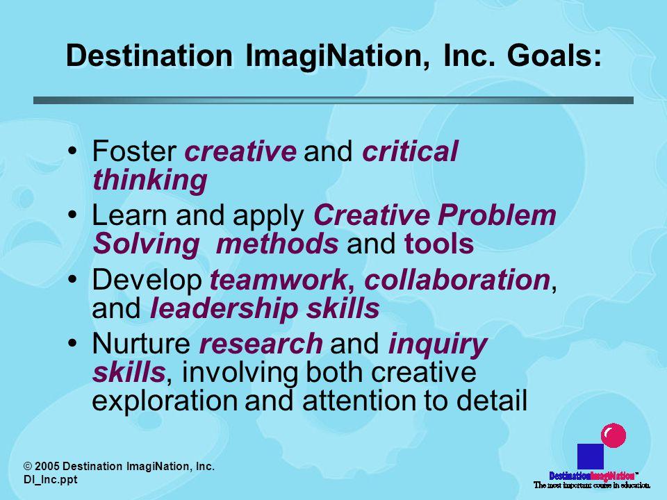 © 2005 Destination ImagiNation, Inc. DI_Inc.ppt Destination ImagiNation, Inc.